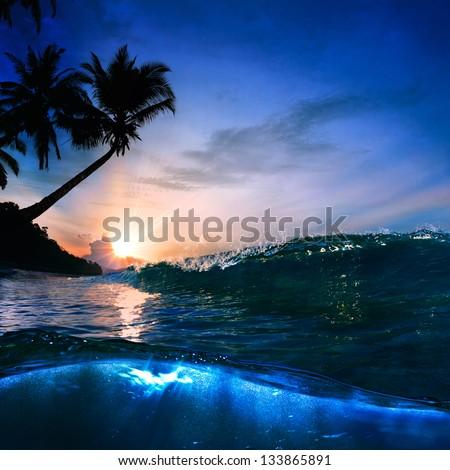 beautiful tropical palm beach with yellow sand breaking splashing shorebreak under sunset - stock photo