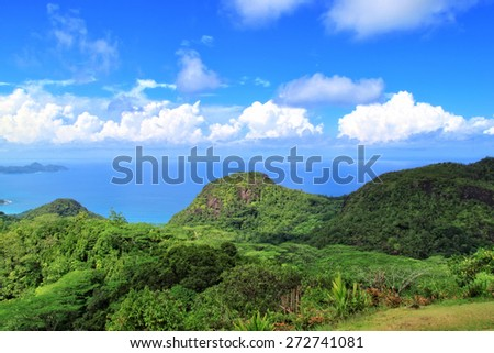 Beautiful tropical paradise island, the Seychelles. The 115-island country, whose capital is Victoria, lies 1,500 kilometres east of mainland East Africa. - stock photo