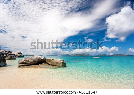 beautiful tropical rocky beach in caribbean waters