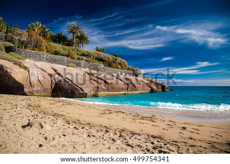 beautiful tropical sandy beach Playa Del Duque in Costa Adeje, Tenerife, Canary Islands
