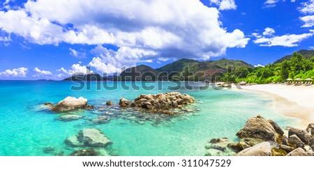 beautiful tropical scenery - panoarmic beach, Mahe island, SEych - stock photo