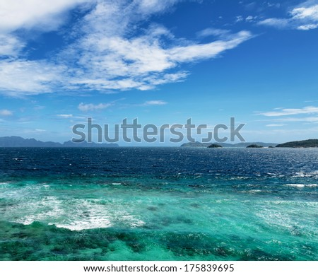 Beautiful tropical sea and blue sky. - stock photo