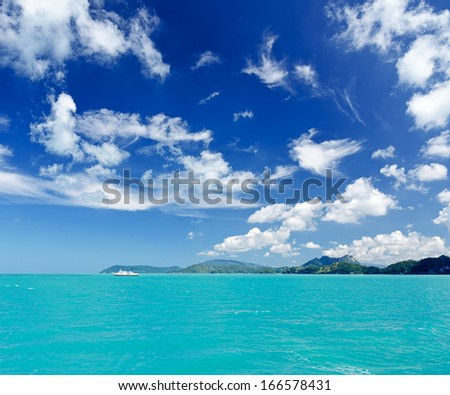 Beautiful tropical sea under the blue sky.