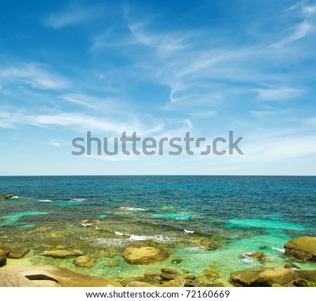 Beautiful tropical seascape in sunny day. - stock photo