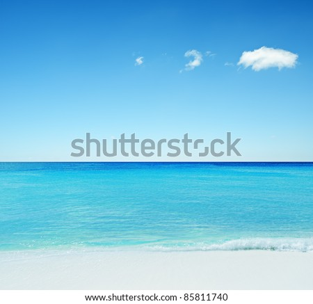 Beautiful tropical seascape. Sky and sea. - stock photo