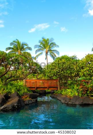 Beautiful Tropical setting Kauai - stock photo