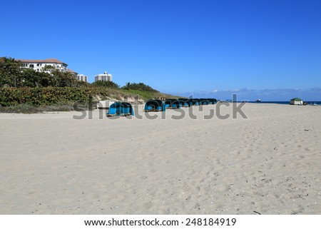 Beautiful tropical setting on the beach at Singer Island, Florida - stock photo