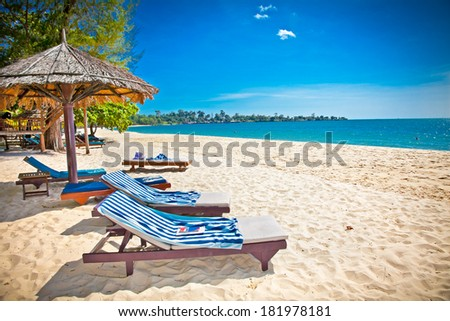 Beautiful tropical Sokha beach in Sihanoukville, Cambodia . - stock photo