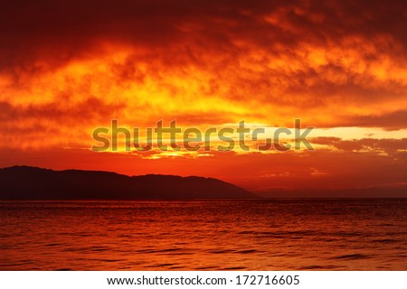 Beautiful tropical sunset ocean background