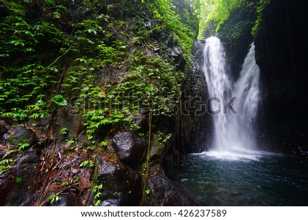Beautiful tropical waterfall in Indonesia. Bali Island.