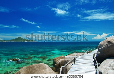 Beautiful tropical white sand beach - stock photo