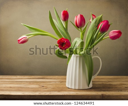 Beautiful tulip flower bouquet. - stock photo