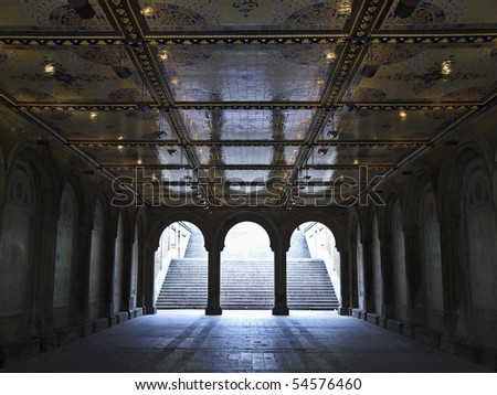 beautiful tunnel to the lower level of Bethesda Terrace in Central Park, NYC - stock photo