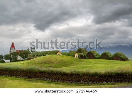 Beautiful turf houses in Glaumbaer in Iceland - stock photo