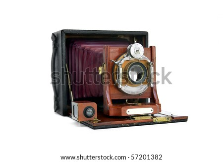Beautiful turn-of-the-century wooden view camera with red bellows