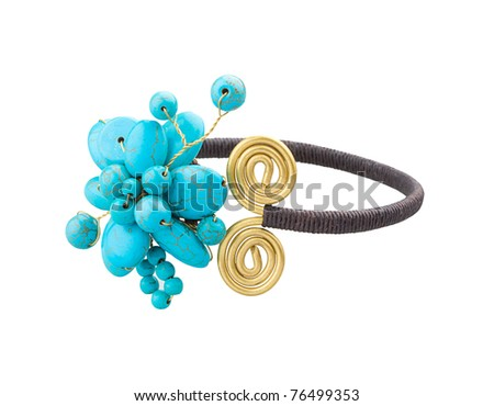 Beautiful turquoise adjustable ring to fit your finger size - stock photo
