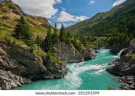 Beautiful turquoise lake, New Zealand - stock photo