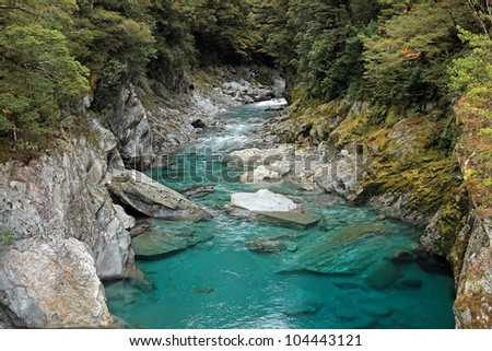 Beautiful turquoise river in Queenstown, New Zealand - stock photo