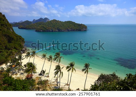 beautiful turquoise waters surrounding Ko Ang Thong islands, part of a national marine reserve in southern Thailand - stock photo