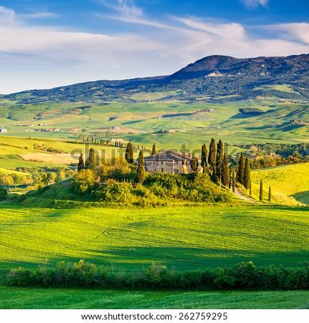 Beautiful Tuscany landscape at sunset, Italy - stock photo