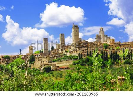 beautiful Tuscany - San Gimignano medieval skyscrapers, Italy - stock photo