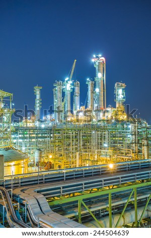 Beautiful twilight of refinery plant - stock photo