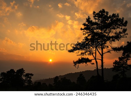 Beautiful twilight time nature background mountains and sky at huai nam dang national park, Chiang mai, Thailand