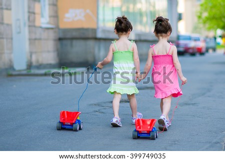 Beautiful twins - stock photo