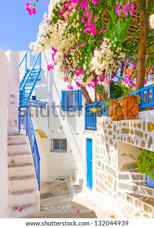Beautiful typical cycladitic scene in Langada a village of Amorgos island in Greece - stock photo