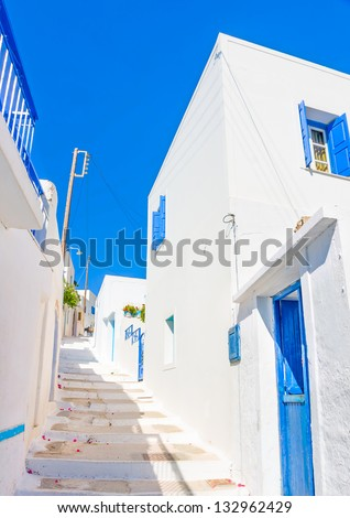 Beautiful typical cycladitic scene in Langada a village of Amorgos island in Greece