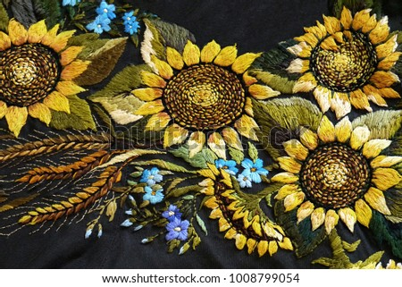 Beautiful Ukrainian Hand Embroidery On A Black Background Embroidered Flowers Are Yellow Sunflowers Blue