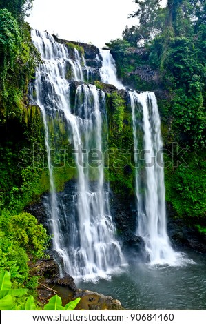 Beautiful Unesco Tad Yueang Waterfall in southern Laos - stock photo