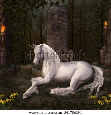Beautiful unicorn in a glade - stock photo
