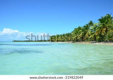Beautiful uninhabited island at Dominicana. - stock photo