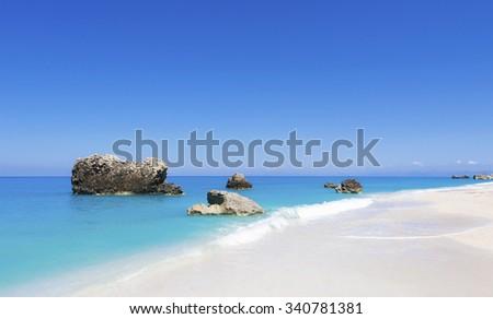 Beautiful unique seascape untouched nature abstract archipelago in seashore with rocks in water on island Lefkada, Leucas or Leucadia, Ionian Sea, Corfu, Greece - stock photo