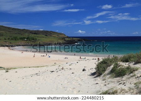 Beautiful unspoiled beach on Easter Island - stock photo