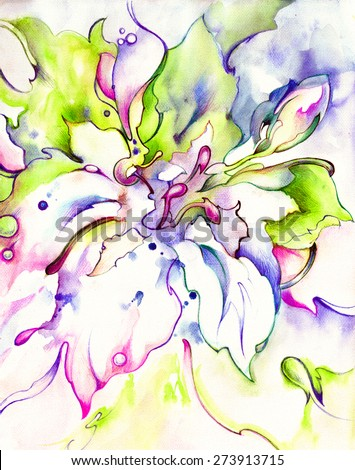 Beautiful unusual flower in blue, purple,pink, purple and green tones. Hand drawing - watercolor on paper. - stock photo