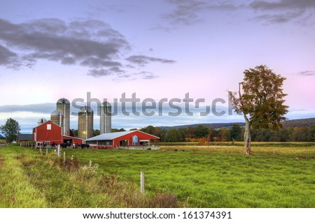 Beautiful upstate ny barn with green field in the foreground at dusk - stock photo