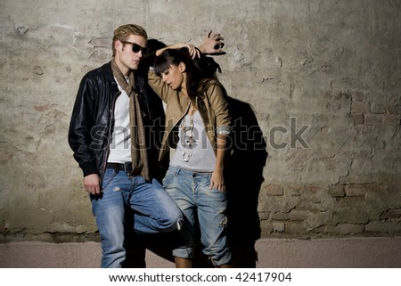 Beautiful urban couple - stock photo