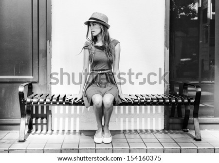 Beautiful urban woman, girl - stock photo