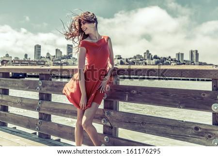 Beautiful urban woman, girl - stock photo