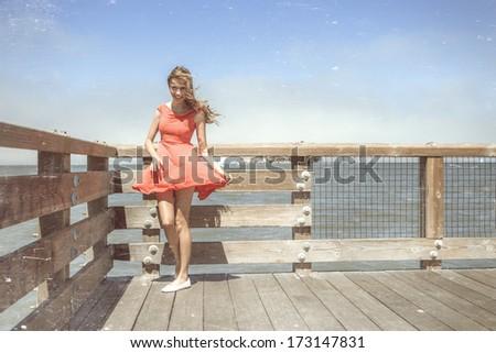 Beautiful urban woman, San Francisco - stock photo