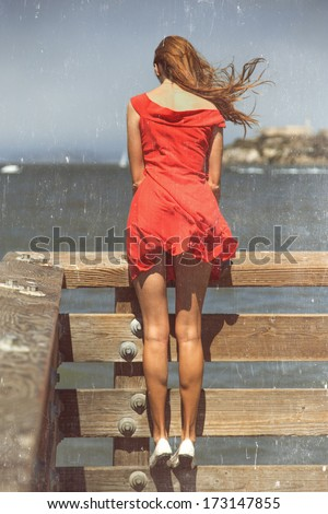 Beautiful urban woman, San Francisco, old photo with scratches! - stock photo
