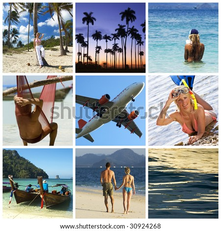 Beautiful vacation collage made from nine photographs - stock photo