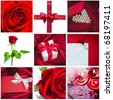 beautiful valentine collage made from nine photographs - stock photo