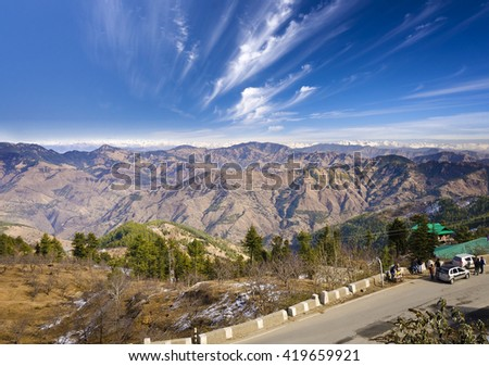 Beautiful valley View of Shimla - stock photo