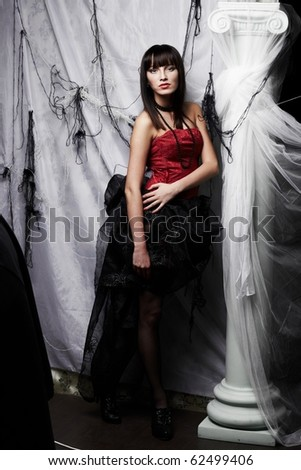 Beautiful vampire, Halloween party - stock photo
