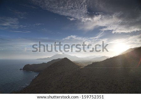 beautiful veiw in cabo de gata, spain  - stock photo