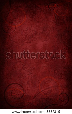 Beautiful velvety red background with scrolls and texture
