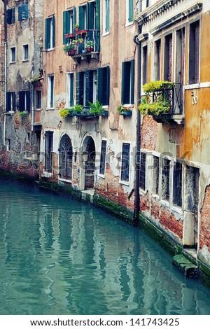 Beautiful venetian canal, Venice, Italy - stock photo